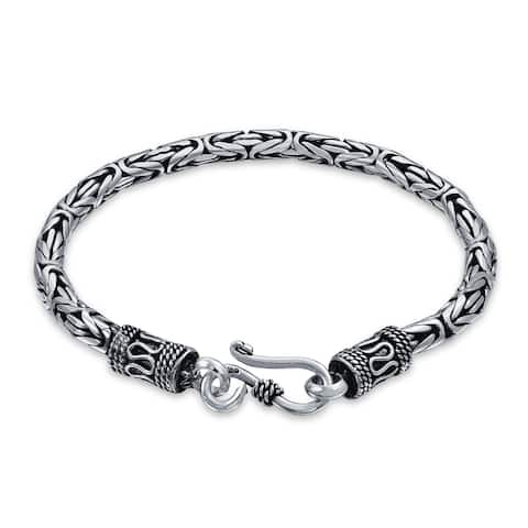 Bali Byzantine Chain Link Bracelet Eye And Hook 925 Sterling Silver