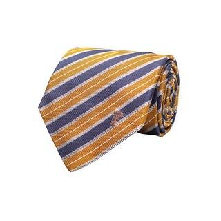 Versace Collection Men's Half Medusa Logo Striped Pattern Silk Neck Tie Orange - no size