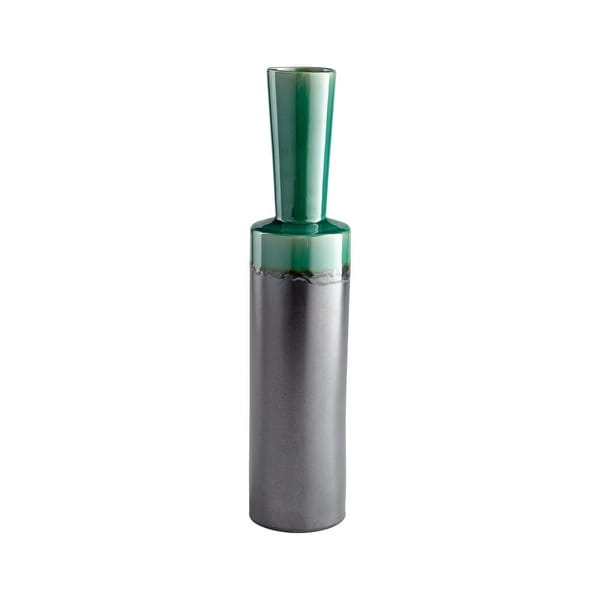 "Cyan Design Large Merl Vase Merl 23.25"" Tall Ceramic Vase - turquoise and black metal - N/A"