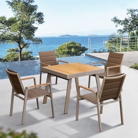 Higold Nofi Outdoor Furniture, 5 Pieces Patio Dining Set, Matte Champagne Aluminum Frame, Imitated Teak Aluminum Tabletop