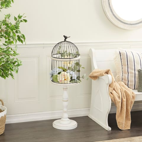 White Wood Farmhouse Birdcage 44 x 14 x 14 - 14 x 14 x 44