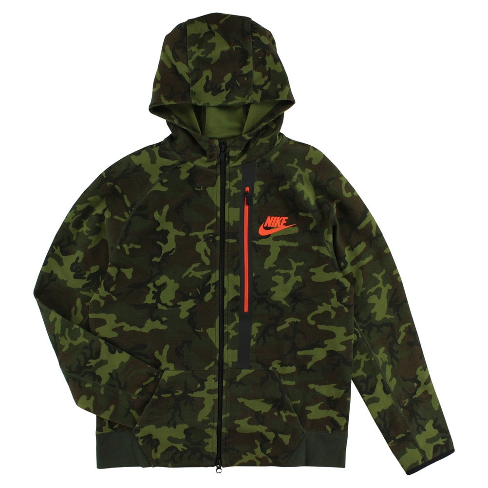Nike Boys Tech Fleece Allover Camo Print Full Zip Hoodie Army Green army greenblackorangebrown
