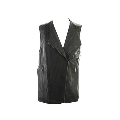 Pure Dkny Black Sleeveless Asymmetrical Mixed-Media Vest M