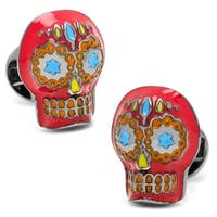 Red Enamel Day of the Dead Sugar Skull Cufflinks