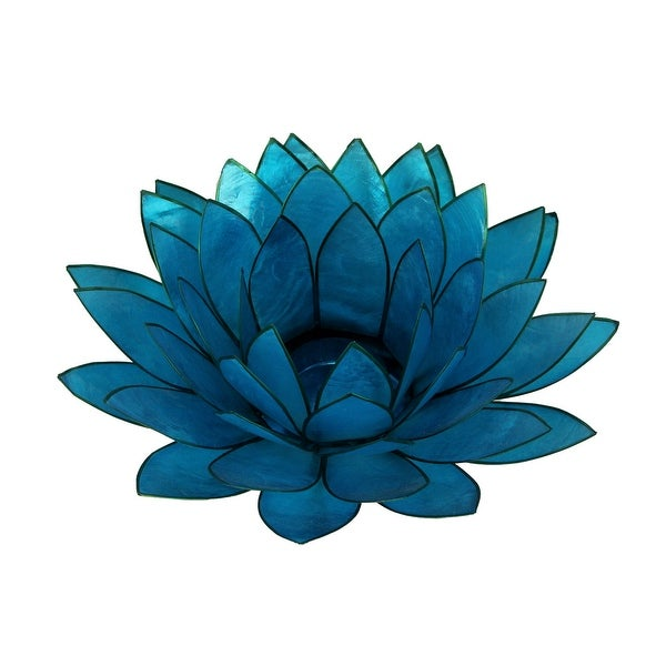 Blue Capiz Shell Lotus Flower Tealight Candle Holder - 3 X 8.25 X 8.25 inches