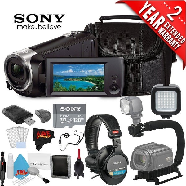 Sony HDR-CX405 Hd Camcorder Black + Sony 128Gb Microsdxc Memory Card Class 10 + Sony Mdr-7506 Headphone Bundle 3 Year Warranty