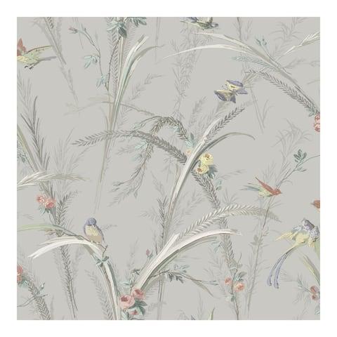 Meadowlark Grey Botanical Wallpaper - 20.5 x 396 x 0.025