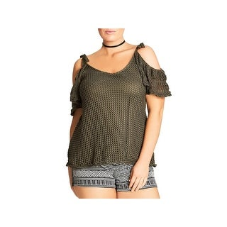 City Chic Womens Blouse Crochet Off-The-Shoulder