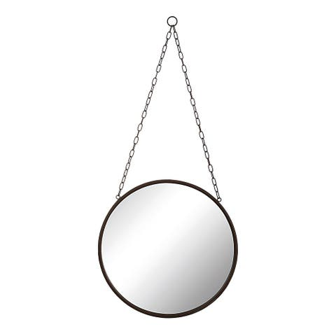 Round Metal Framed Mirror with Chain - Rust