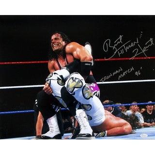 Bret Hart Signed WWE 16x20 WrestleMania XII Sharpshooter Photo Iron Man 96 JSA