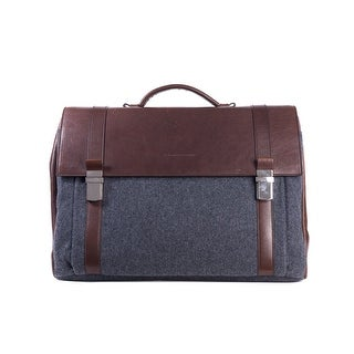 Brunello Cucinelli Mens Gray Wool Brown Leather Messenger Bag