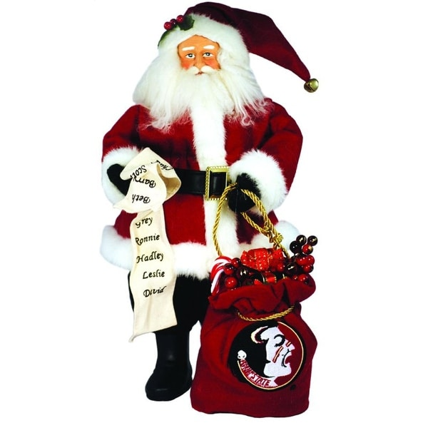 """15"""" NCAA Florida State Seminoles Santa with Toy Sack Table Top Christmas Figure - RED"""