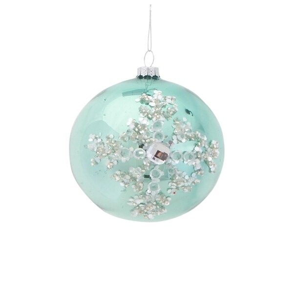 """4"""" Silent Luxury Pale Green Jeweled Icy Snowflake Glass Disc Christmas Ornament"""