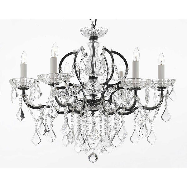 19th Baroque Iron & Crystal Chandelier Lighting H25 x W26