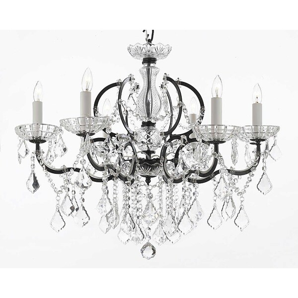 Swarovski Elements Crystal Trimmed Chandelier Lighting 19th Rococo Iron & Crystal Chandelier Lighting