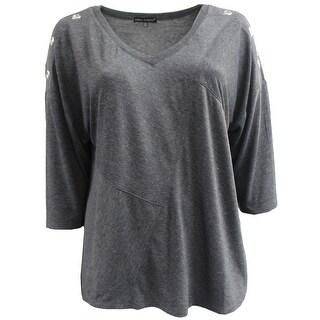 Women Plus-Size Shoulder W Metal Hole Design Blouse Knit Tee Shirt Top Dark Gray G17045L