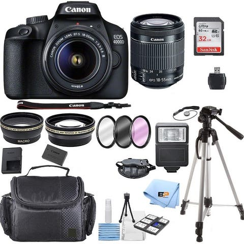 Canon EOS 4000D Digital SLR Camera w/ 18-55MM DC III Lens Kit with Bundle, Includes: SanDisk 32GB Card + DSLR Bag + 50 Tripod