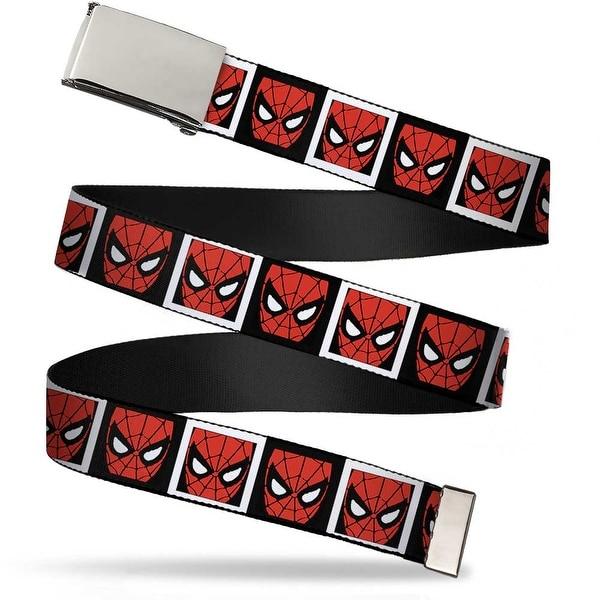 Marvel Comics blank Chrome Buckle Spider Man Face Black White Blocks Web Belt