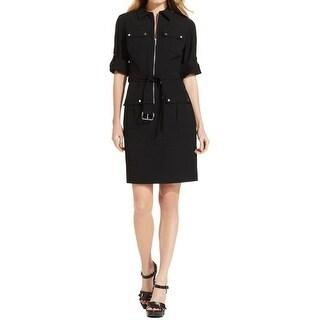 MICHAEL Michael Kors Womens Shirtdress Front Zip Belted
