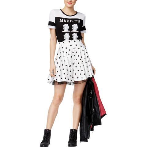 City Studio Womens Polka Dot A-line Skirt, white, 11