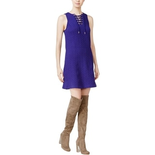 Kensie Womens Cocktail Dress Quilted Lace Up