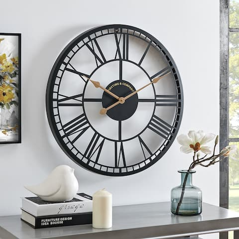 FirsTime & Co. Black Westley Roman Farmhouse Clock, Metal