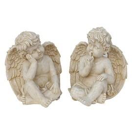 "Set of 2 Weathered Stone Pensive Sitting Cherub Angel Outdoor Garden Statues 13"""
