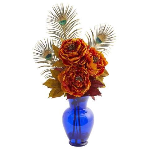 Peony in Blue Vase Artificial Arrangement - Height: 27 In.
