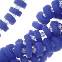 Cultured Sea Glass, Button Heishi Spacer Beads 9mm, 36 Pieces, Opaque Sky Blue