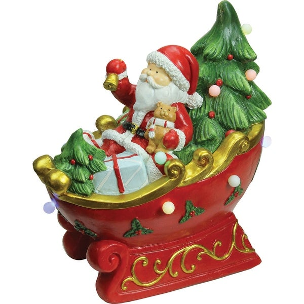 "18"" LED Lighted Santa in a Sleigh Musical Christmas Tabletop Decoration"
