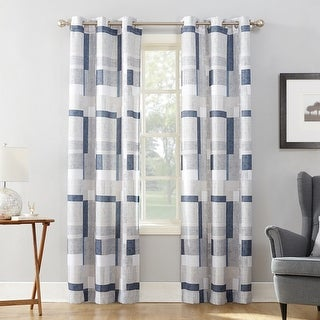 No. 918 Takumi Geometric Blocks Semi Sheer Grommet Curtain Panel