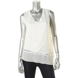 T Tahari Womens Nona Asymmetric Sheer Pullover Top - L