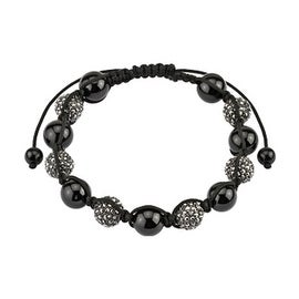 Shamballa Bracelet with Micro Black Metallic Crystals Cluster Beads (10 mm) - 7.5 in