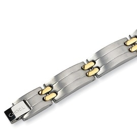 Chisel 24K Gold Plated Brushed and Polished Titanium Bracelet - 8.5 Inches