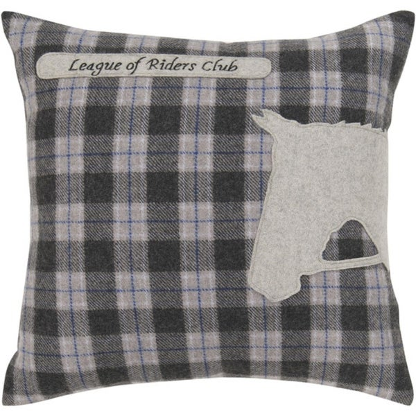 "18"" Black, Gray and Blue Horse Silhouette on Plaid Square Throw Pillow"
