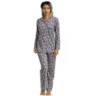 Body Touch Women's Poly Spandex Notch Collar Pajama Set
