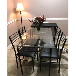 Kitchen Glass Table Sets Kitchen dining table setglass table and 4 chairsblacksilver kitchen dining table setglass table and 4 chairsblacksilver workwithnaturefo