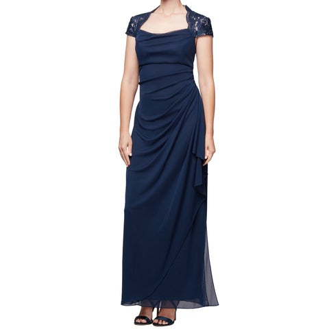 Alex Evenings Womens Ruched Chiffon Sequined Gown