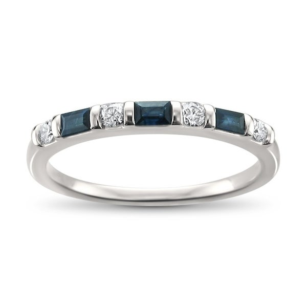 Montebello 14KT White Gold 1/3ct TDW Diamond and Blue Sapphire Wedding Band. Opens flyout.