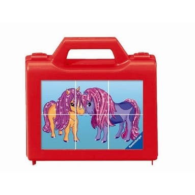 Ravensburger Pony Love Cube Puzzle - Red - 7.0 in. x 7.0 in. x 2.0 in.
