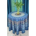 "Handmade Sanganer Peacock Mandala 72"" Round Cotton Tablecloth Gorgeous Blue Green Red - Thumbnail 10"