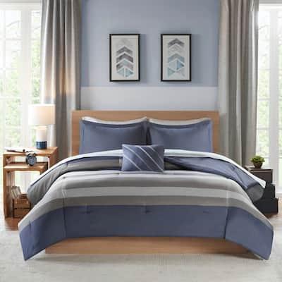 James Blue/ Grey Complete Bed Set Including Sheets by Intelligent Design