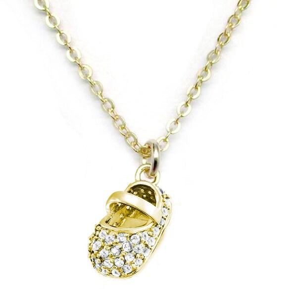 """Julieta Jewelry White CZ Baby Shoe Gold Charm 16"""" Necklace"""