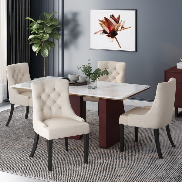 Hayden Contemporary Tufted Fabric Dining Chairs (Set of 4) by Christopher Knight Home. Opens flyout.
