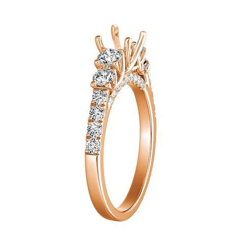 Auriya 14k Gold 5-Stone Style Semi-Mount 3/4ctw Diamond Engagement Ring