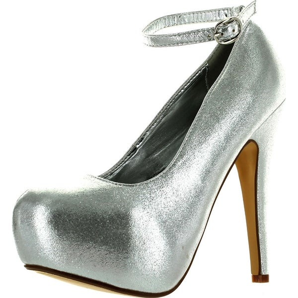 Delicacy Elegant-86 Womens New Hot Fashion Close Toe Stiletto Heel Pumps - Silver