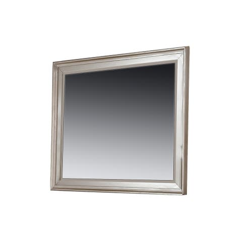 36 Inches Rectangular Molded Wood Encased Mirror, Silver