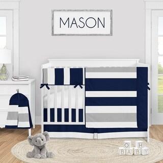 Navy Blue and Grey Stripe Collection Boy 5-piece Nursery Crib Bedding Set - Gray White