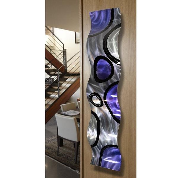 Statements2000 Purple Silver Abstract Metal Wall Art Accent Sculpture Decor by Jon Allen - Rains of Purple Wave