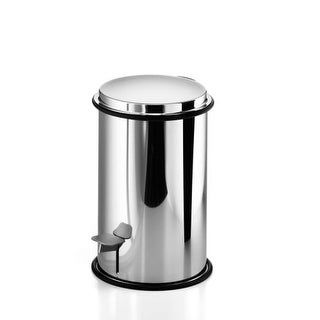 """WS Bath Collections Basket 5344 10-4/5"""" Stainless Steel Waste Basket with Foot Press and Lid from the Linea Collection"""